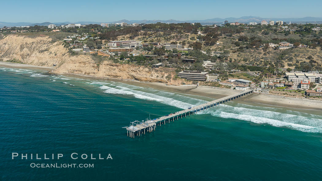 Aerial Photo of San Diego Scripps Coastal SMCA. Scripps Institution of Oceanography Research Pier. Scripps Institution of Oceanography, La Jolla, California, USA, natural history stock photograph, photo id 30627