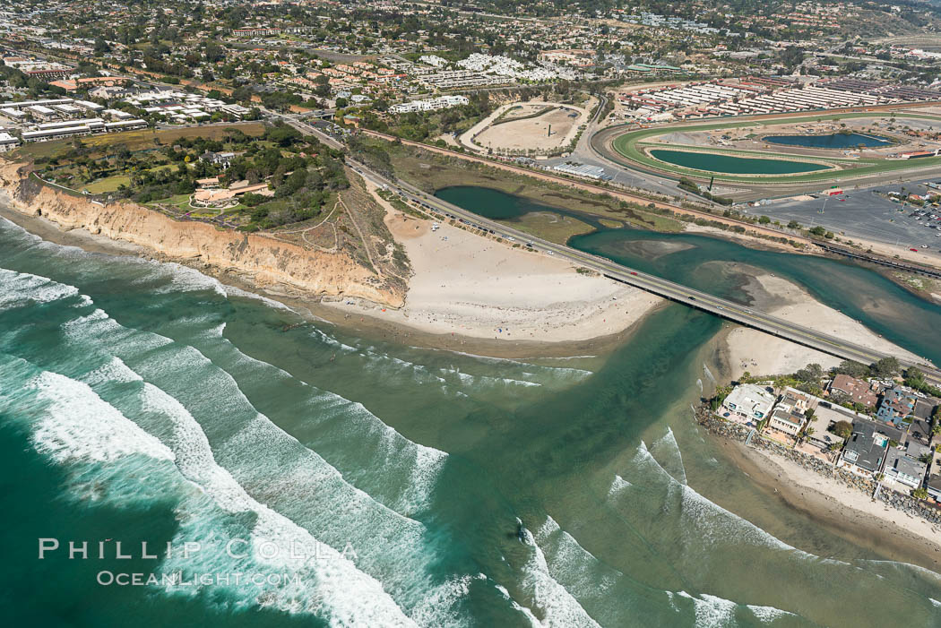 Aerial photo of San Dieguito Lagoon and Dog Beach.  San Dieguito Lagoon State Marine Conservation Area (SMCA) is a marine protected area near Del Mar in San Diego County. California, USA, natural history stock photograph, photo id 30604