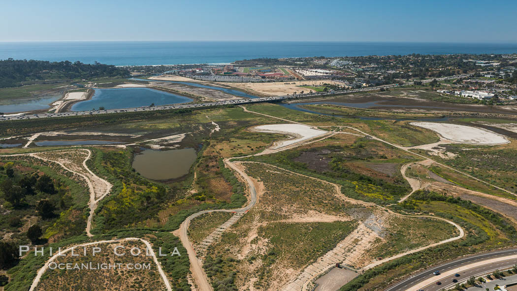 Aerial photo of San Dieguito Lagoon State Marine Conservation Area.  San Dieguito Lagoon State Marine Conservation Area (SMCA) is a marine protected area near Del Mar in San Diego County. California, USA, natural history stock photograph, photo id 30610