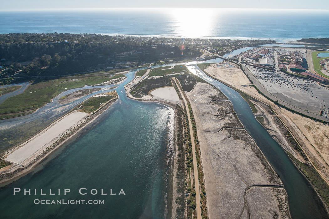 Aerial photo of San Dieguito Lagoon State Marine Conservation Area.  San Dieguito Lagoon State Marine Conservation Area (SMCA) is a marine protected area near Del Mar in San Diego County., natural history stock photograph, photo id 30722
