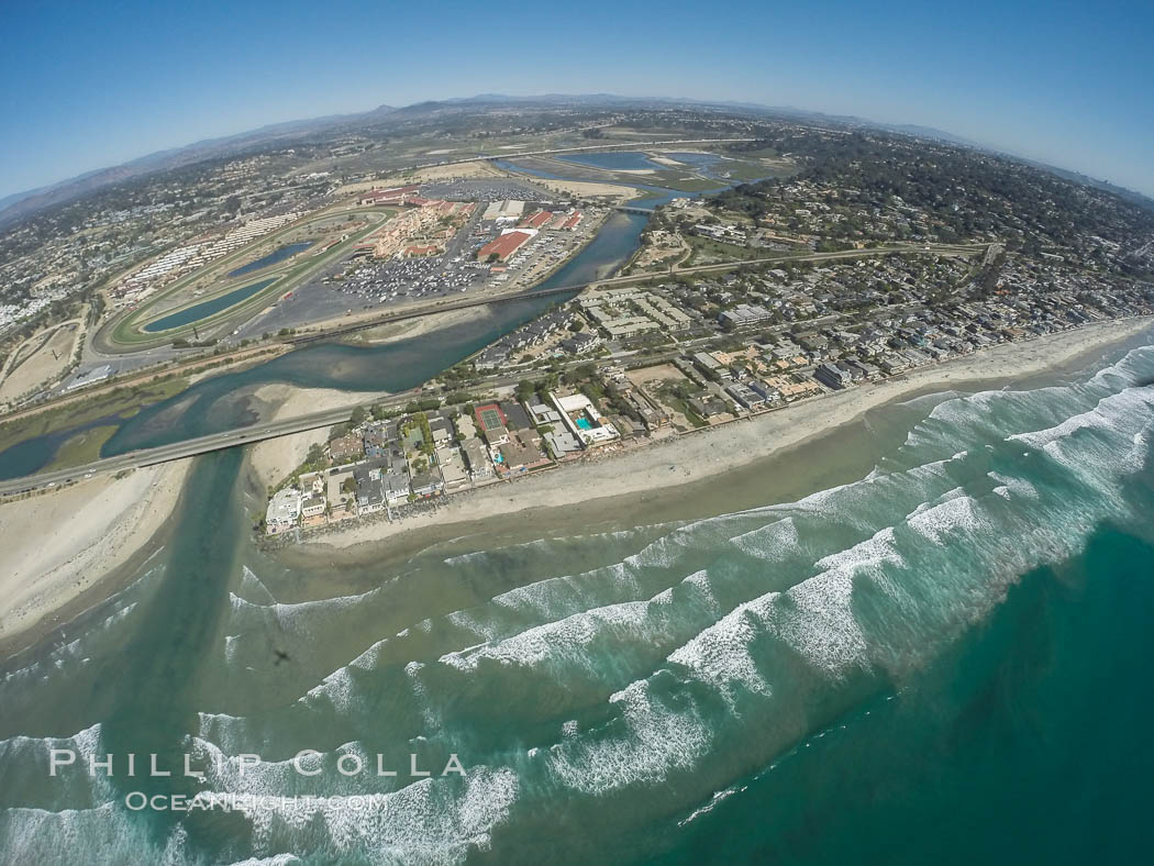 Aerial photo of San Dieguito Lagoon State Marine Conservation Area.  San Dieguito Lagoon State Marine Conservation Area (SMCA) is a marine protected area near Del Mar in San Diego County. California, USA, natural history stock photograph, photo id 30603