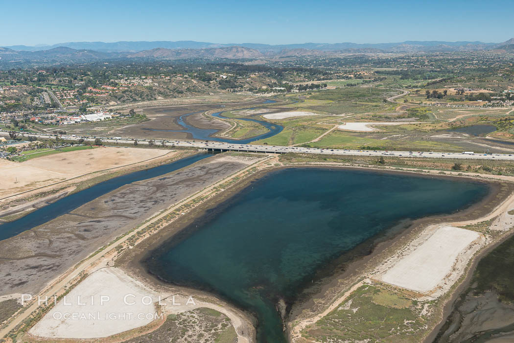 Image 30607, Aerial photo of San Dieguito Lagoon State Marine Conservation Area.  San Dieguito Lagoon State Marine Conservation Area (SMCA) is a marine protected area near Del Mar in San Diego County. Del Mar, California, USA, Phillip Colla, all rights reserved worldwide. Keywords: above, aerial, aerial photo, aerial photograph, aloft, california, coast, del mar, lagoon, lighthawk, marine, marine protected area, marsh, mpa, ocean, outdoors, outside, racetrack, san diego, san dieguito lagoon, san dieguito lagoon state marine conservation area, scene, scenery, scenic, solana beach, usa.
