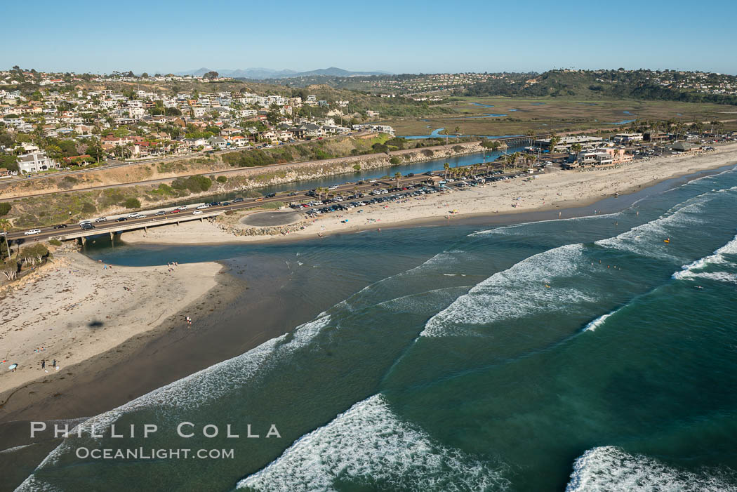 Aerial Photo of San Elijo Lagoon and Cardiff Coastline., natural history stock photograph, photo id 30724