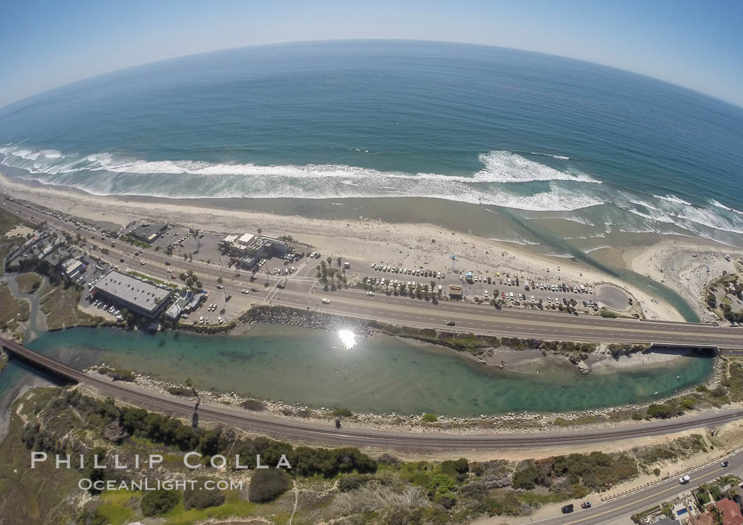 Aerial Photo of San Elijo Lagoon and Cardiff Reef beach. San Elijo Lagoon Ecological Reserve is one of the largest remaining coastal wetlands in San Diego County, California, on the border of Encinitas, Solana Beach and Rancho Santa Fe. Encinitas, California, USA, natural history stock photograph, photo id 30594
