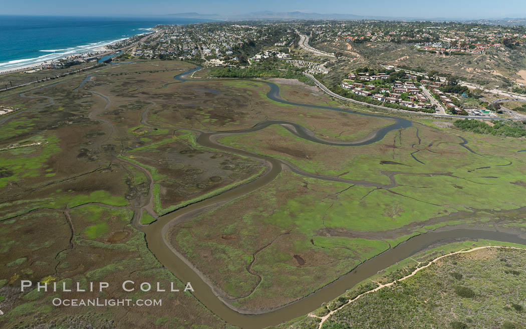 Aerial Photo of San Elijo Lagoon. San Elijo Lagoon Ecological Reserve is one of the largest remaining coastal wetlands in San Diego County, California, on the border of Encinitas, Solana Beach and Rancho Santa Fe. USA, natural history stock photograph, photo id 30584