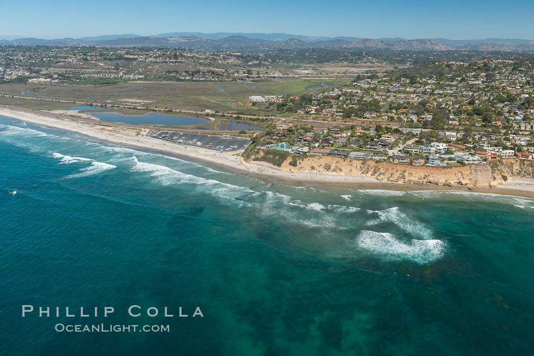 Aerial Photo of San Elijo Lagoon and Cardiff Reef beach. San Elijo Lagoon Ecological Reserve is one of the largest remaining coastal wetlands in San Diego County, California, on the border of Encinitas, Solana Beach and Rancho Santa Fe. Encinitas, California, USA, natural history stock photograph, photo id 30601