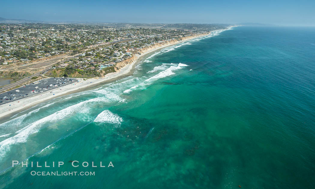 Aerial Photo of Seaside Reef, Cardiff State Beach and Tabletops Reef. Solana Beach, California, USA, natural history stock photograph, photo id 30842