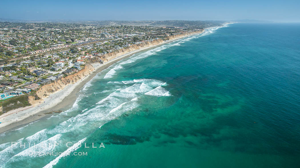 Aerial Photo of Seaside Reef, Cardiff State Beach and Tabletops Reef. Solana Beach, California, USA, natural history stock photograph, photo id 30844
