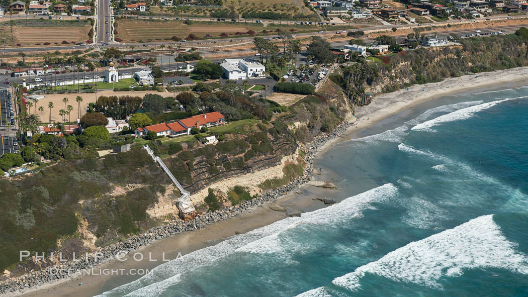 Aerial Photo of Swamis Marine Conservation Area.  Swami's State Marine Conservation Area (SMCA) is a marine protected area that extends offshore of Encinitas in San Diego County. Encinitas, California, USA, natural history stock photograph, photo id 30573