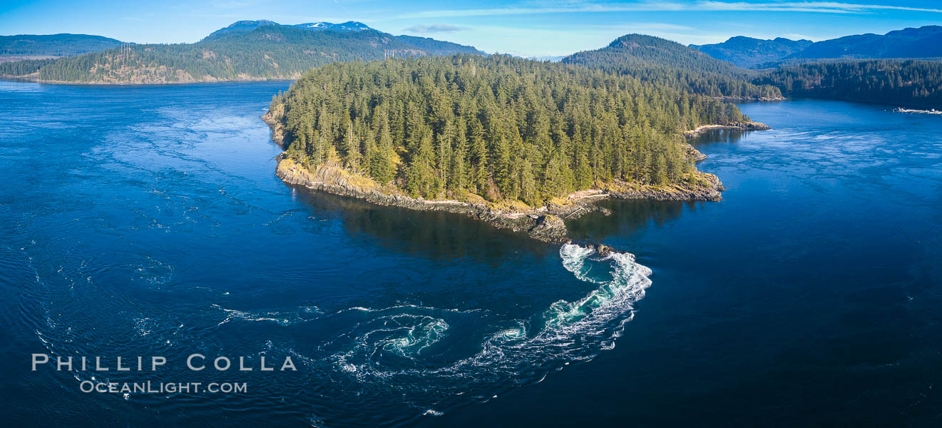 Seymour Narrows with strong tidal currents.  Between Vancouver Island and Quadra Island, Seymour Narrows is about 750 meters wide and has currents reaching 15 knots.  Aerial photo. British Columbia, Canada, natural history stock photograph, photo id 34491