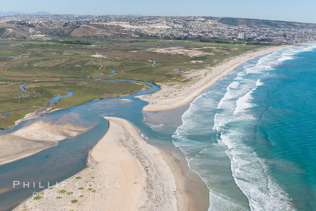 Aerial Photo of Tijuana River Mouth SMCA.  Tijuana River Mouth State Marine Conservation Area borders Imperial Beach and the Mexican Border. California, USA, natural history stock photograph, photo id 30655
