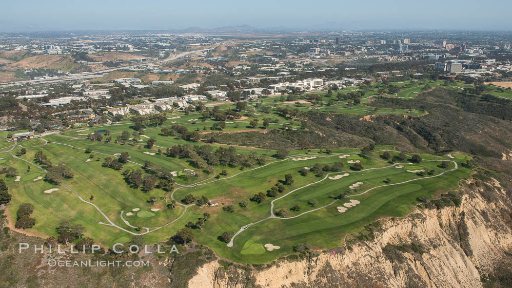 Aerial Photo of Torrey Pines Golf Course, South. La Jolla, California, USA, natural history stock photograph, photo id 30820