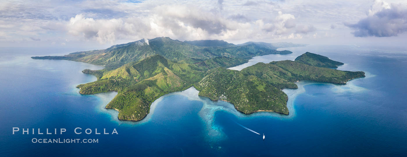 Aerial View of Gau Island, Fiji. Lomaiviti Archipelago, natural history stock photograph, photo id 34702