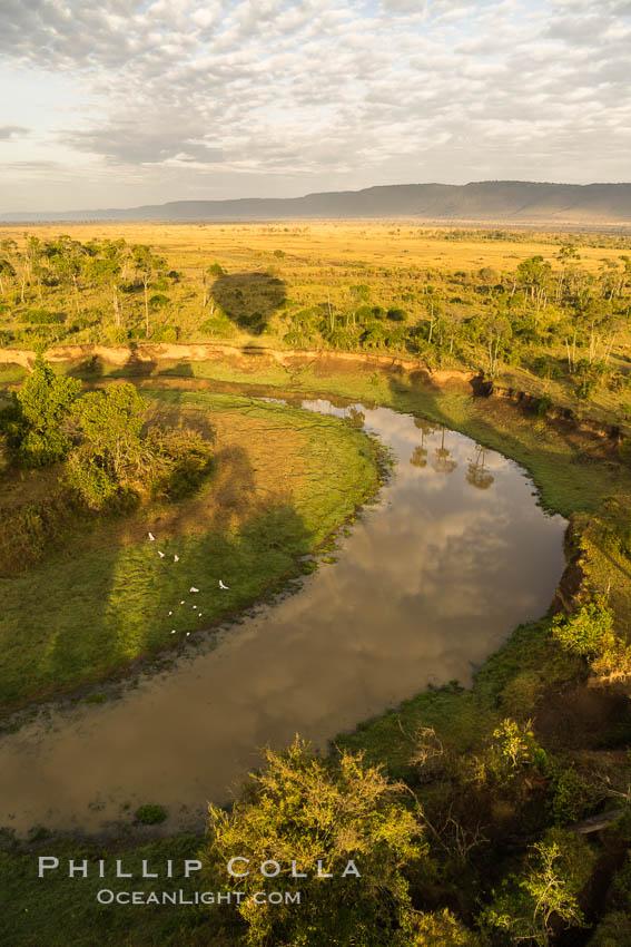 Aerial view of the Mara River, Maasai Mara, Kenya.  Photo taken while hot air ballooning at sunrise. Maasai Mara National Reserve, Kenya, natural history stock photograph, photo id 29818