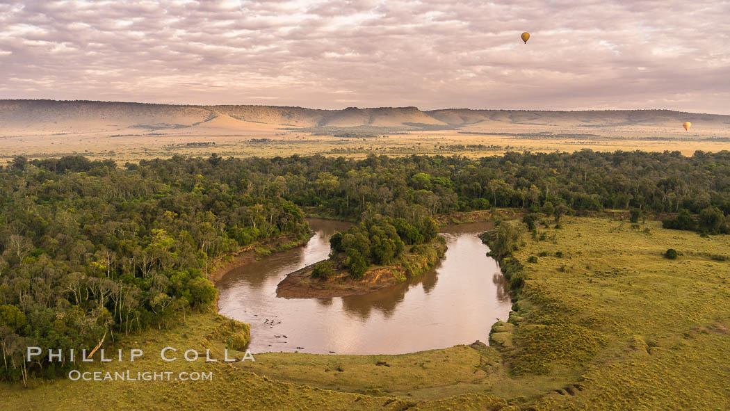 Aerial view of the Mara River, Maasai Mara, Kenya.  Photo taken while hot air ballooning at sunrise. Maasai Mara National Reserve, Kenya, natural history stock photograph, photo id 29808