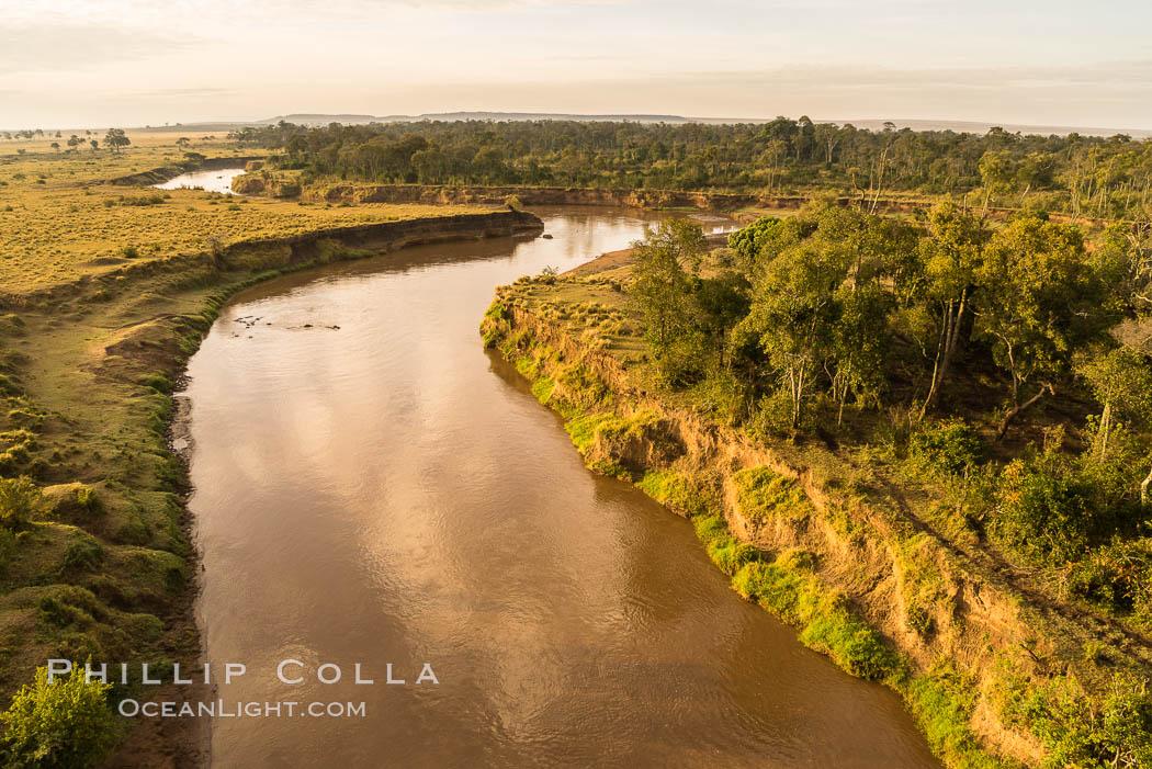 Aerial view of the Mara River, Maasai Mara, Kenya.  Photo taken while hot air ballooning at sunrise. Maasai Mara National Reserve, Kenya, natural history stock photograph, photo id 29815