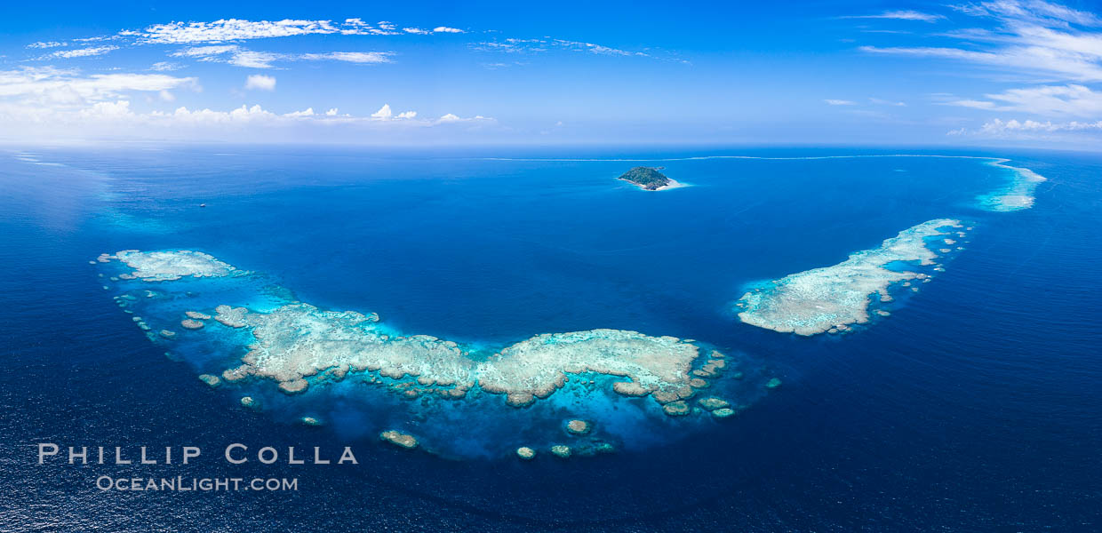 Aerial View of Namena Marine Reserve and Coral Reefs, Namena Island, Fiji., natural history stock photograph, photo id 34686