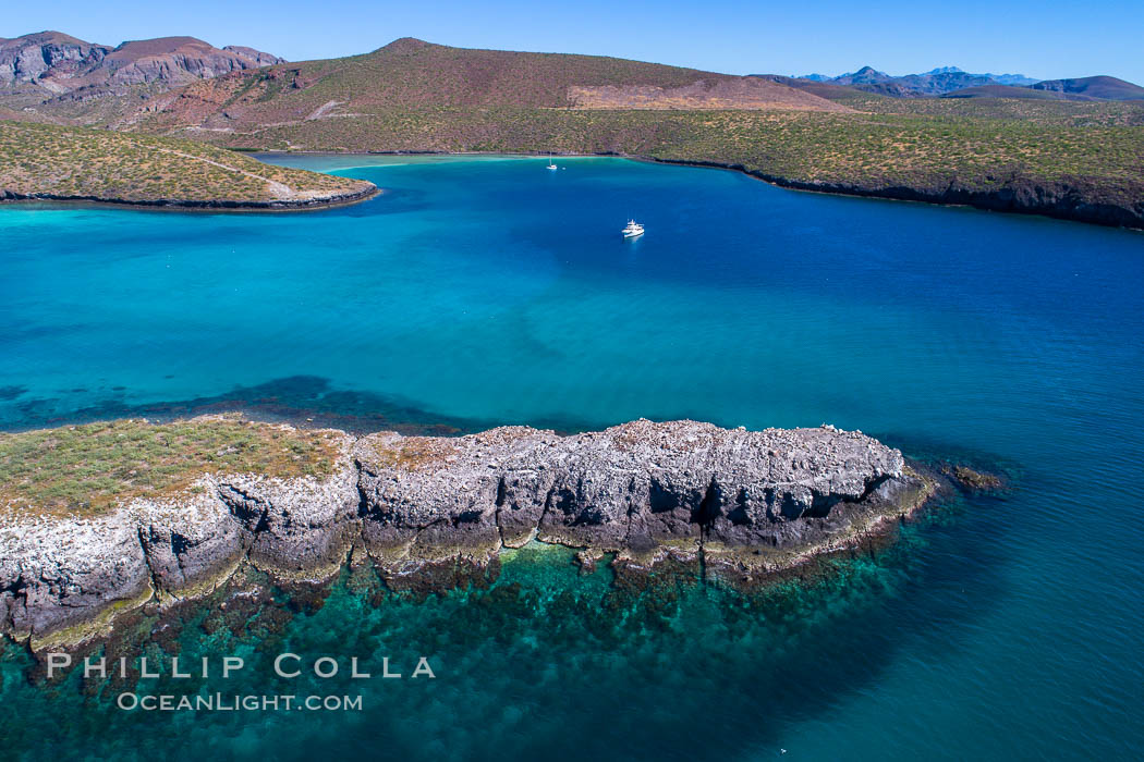 Aerial View near Playa Balandra and Lobera San Rafaelito, Sea of Cortez. Lobera San Rafaelito, Baja California, Mexico, natural history stock photograph, photo id 33830