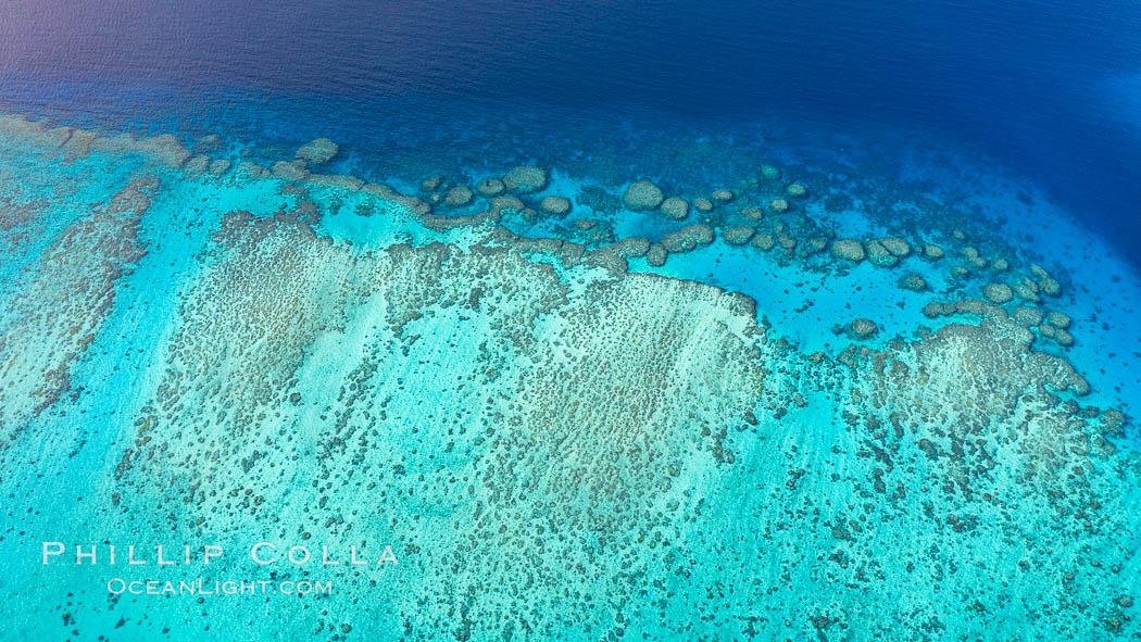 Aerial View of Vatu-i-Ra Coral Seascape, Fiji, Vatu I Ra Passage, Gau Island, Lomaiviti Archipelago