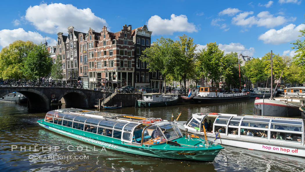 Amsterdam canals and quaint city scenery. Holland, Netherlands, natural history stock photograph, photo id 29434