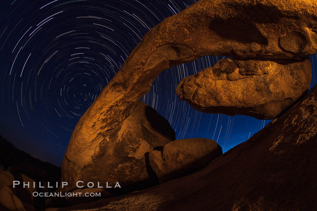 Arch Rock and star trails, impending dawn. Joshua Tree National Park, California, USA, natural history stock photograph, photo id 28415