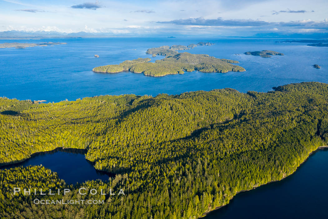 Image 35540, Balaklava Island and Hurst Island, aerial view, Canada. British Columbia, Canada