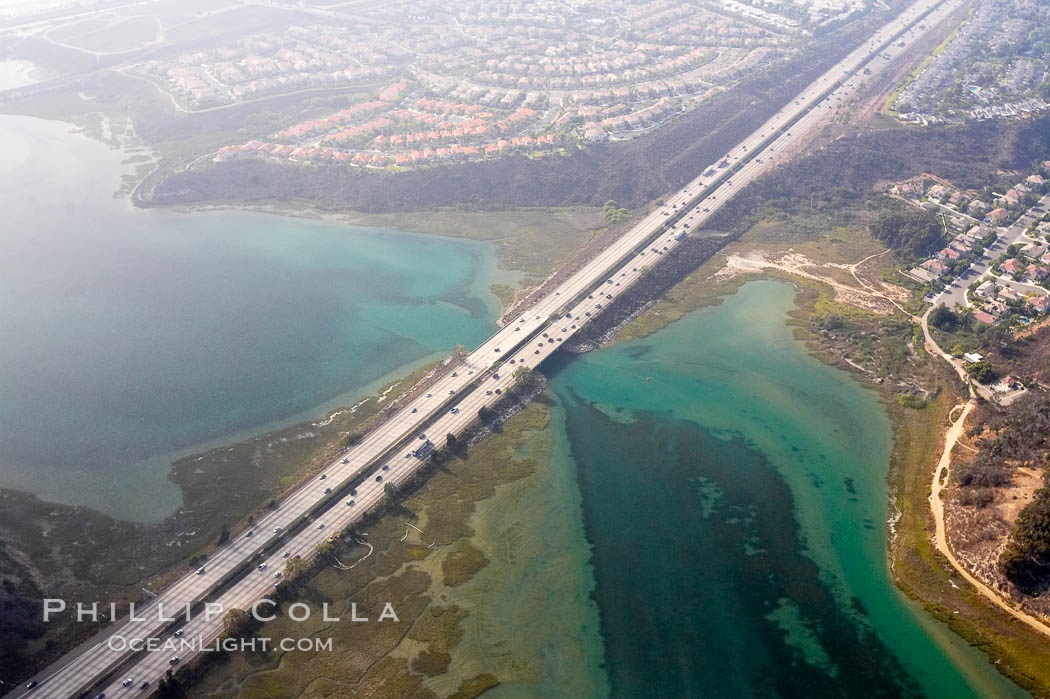 Batiquitos Lagoon aerial view, showing coastline and Interstate 5 freeway. Carlsbad, California, USA, natural history stock photograph, photo id 21338