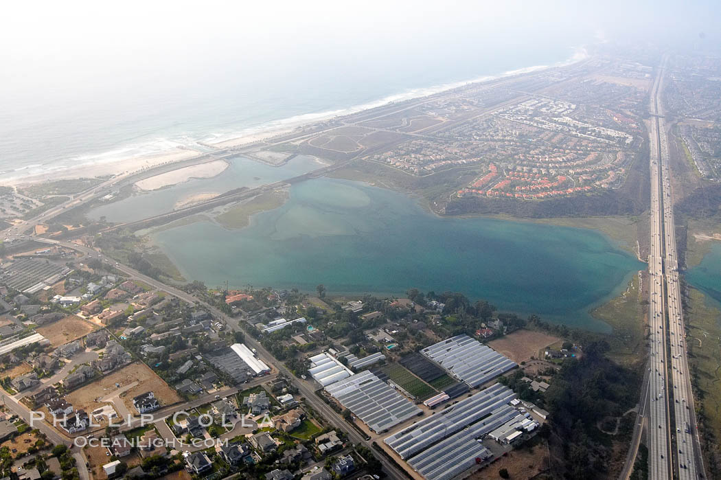Batiquitos Lagoon aerial view, showing coastline and Interstate 5 freeway. Carlsbad, California, USA, natural history stock photograph, photo id 21337