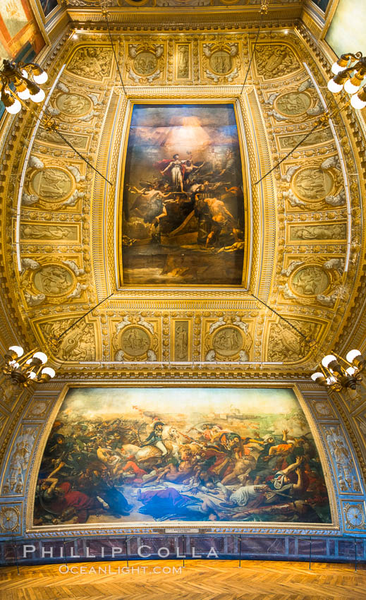 The Battle of the Nile, also known as the Battle of Aboukir Bay, in French as the Bataille d'Aboukir, panaramic photo showing wall and ceiling detail. Chateau de Versailles, Paris, France, natural history stock photograph, photo id 28076