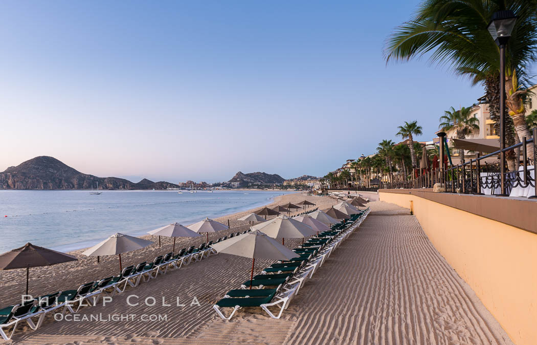 Beach chairs and umbrellas line the sand in front of resorts on Medano Beach, Cabo San Lucas, Mexico. Cabo San Lucas, Baja California, Mexico, natural history stock photograph, photo id 28949