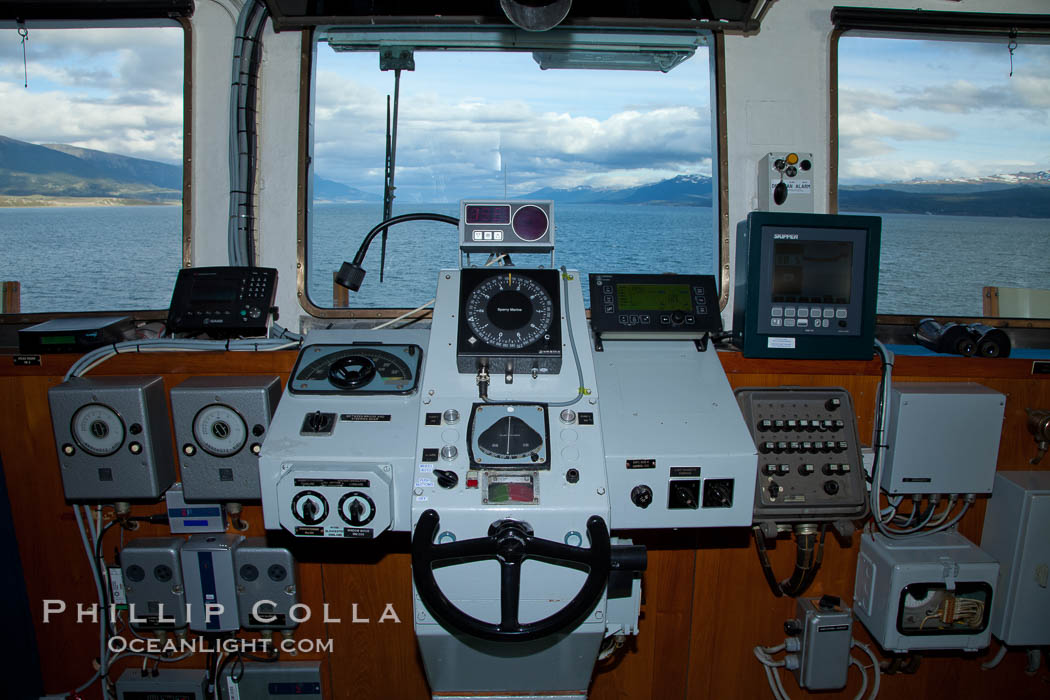 Steering controls on the M/V Polar Star as it passes south through the Beagle Channel. Beagle Channel, Ushuaia, Tierra del Fuego, Argentina, natural history stock photograph, photo id 23620