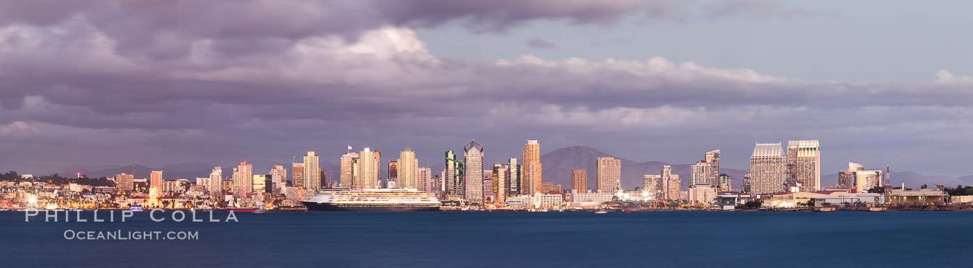 San Diego city skyline, dusk, clearing storm clouds. San Diego, California, USA, natural history stock photograph, photo id 28008