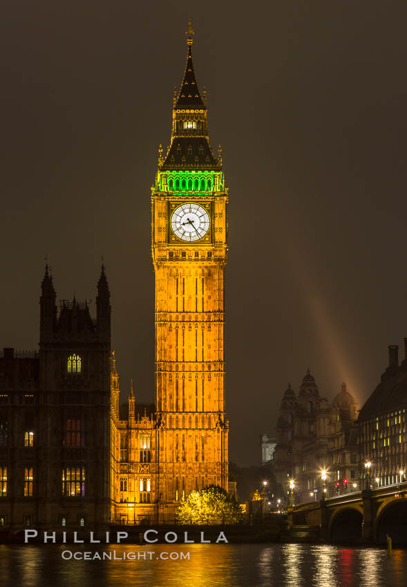 Big Ben at Night. Houses of Parliment, London, United Kingdom, natural history stock photograph, photo id 28284