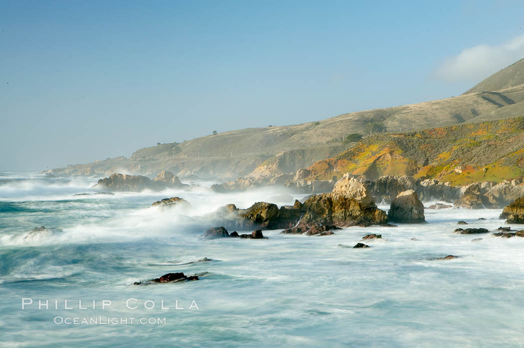 Waves blur as they break over the rocky shoreline of Big Sur. California, USA, natural history stock photograph, photo id 14907