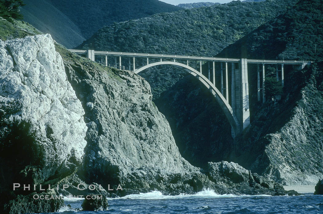 Bixby Bridge on Highway 1, Lobos Rocks in foreground. Big Sur, California, USA, natural history stock photograph, photo id 05503