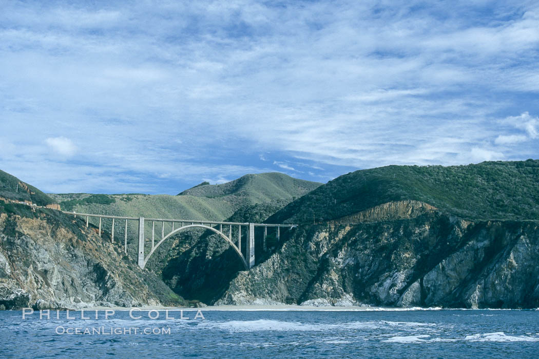 Bixby Bridge on Highway 1, Lobos Rocks in foreground, Santa Lucia mountains in the background. Big Sur, California, USA, natural history stock photograph, photo id 05505