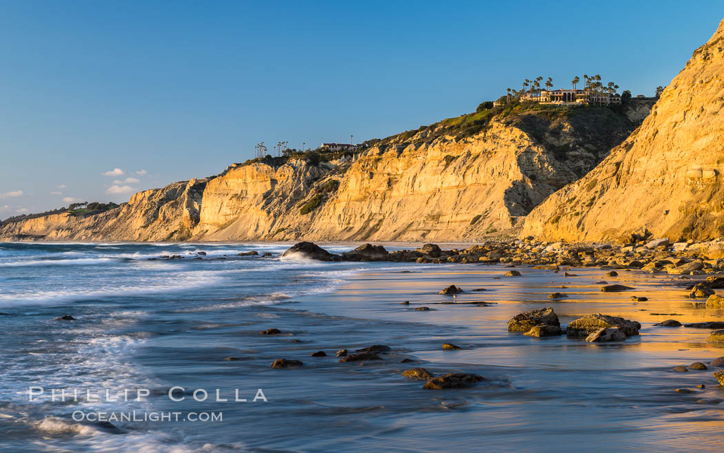 Black's Beach sea cliffs, sunset, looking north from Scripps Pier with Torrey Pines State Reserve in the distance. La Jolla, California, USA, natural history stock photograph, photo id 29165
