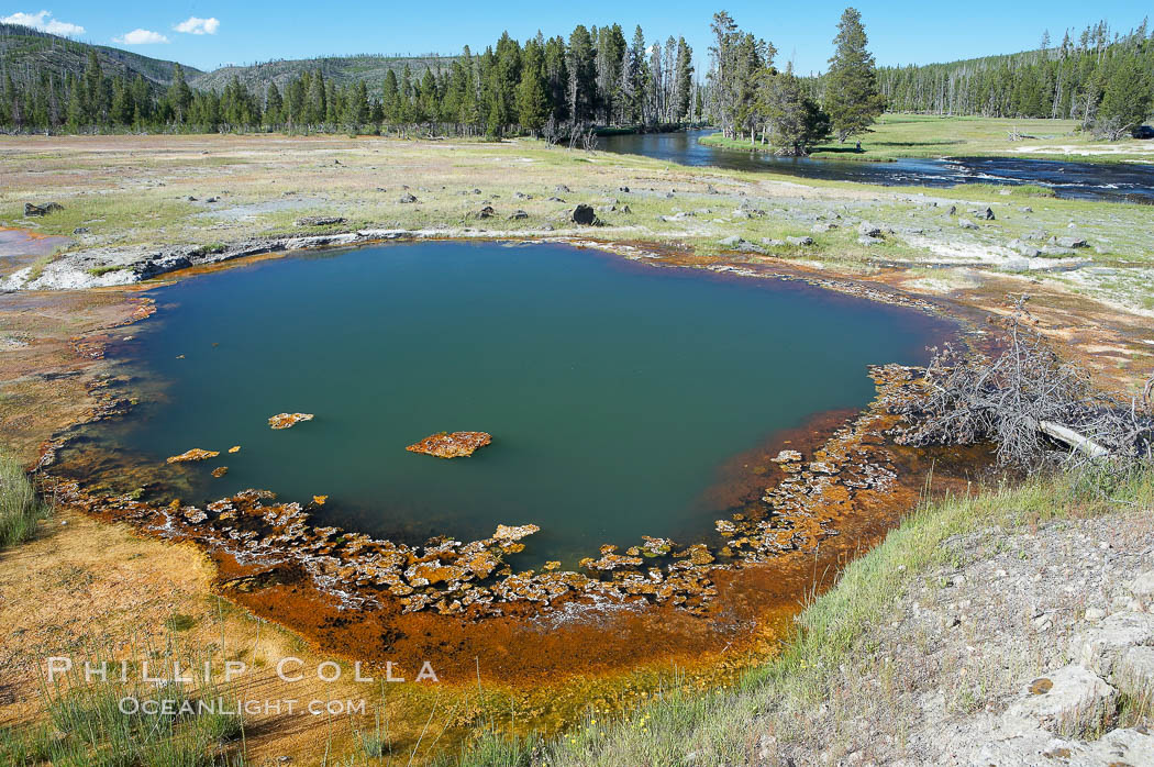 Image 13493, Black Opal Spring. Biscuit Basin, Yellowstone National Park, Wyoming, USA, Phillip Colla, all rights reserved worldwide. Keywords: biscuit basin, black opal spring, environment, geothermal, geothermal features, landscape, national parks, nature, outdoors, outside, scene, scenery, scenic, spring, usa, world heritage sites, wyoming, yellowstone, yellowstone national park, yellowstone park.