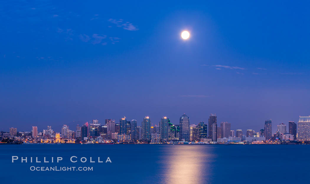 "Blue Moon at Sunset over San Diego City Skyline.  The third full moon in a season, this rare ""blue moon"" rises over San Diego just after sundown. California, USA, natural history stock photograph, photo id 28756"