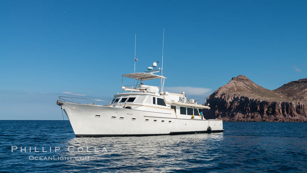 Boat M/V Ambar III at Isla Partida, Sea of Cortez, Mexico. Baja California, natural history stock photograph, photo id 31229