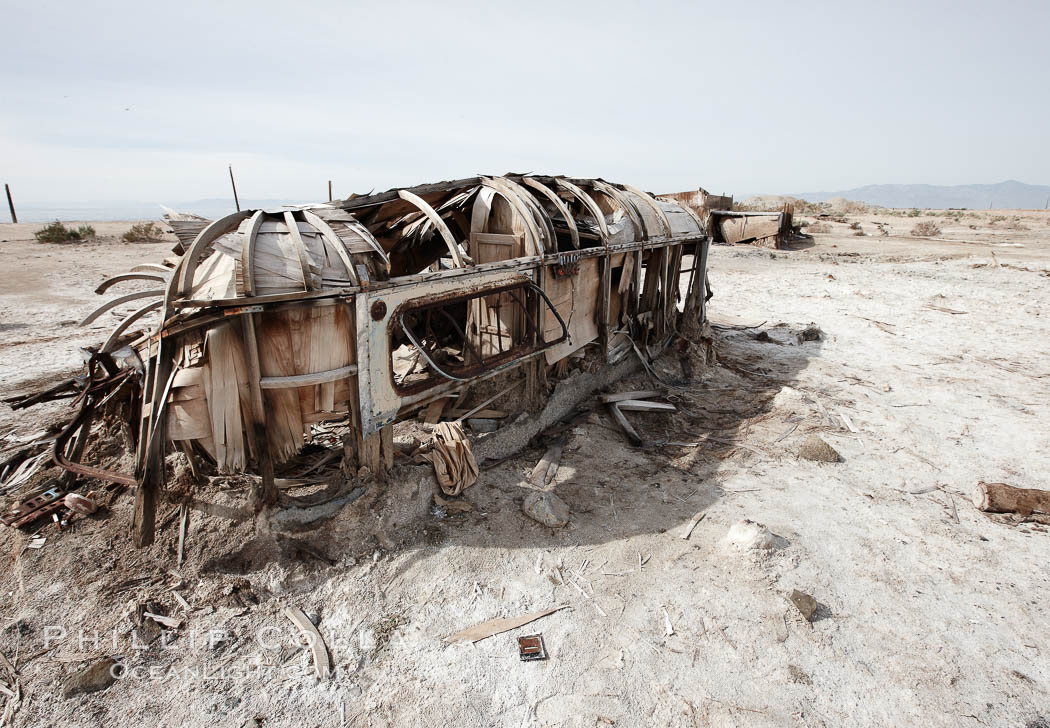 Bombay Beach, lies alongside and below the flood level of the Salton Sea, so that it floods occasionally when the Salton Sea rises.  A part of Bombay Beach is composed of derelict old trailer homes, shacks and wharfs, slowly sinking in the mud and salt. Salton Sea, Imperial County, California, USA, natural history stock photograph, photo id 22498