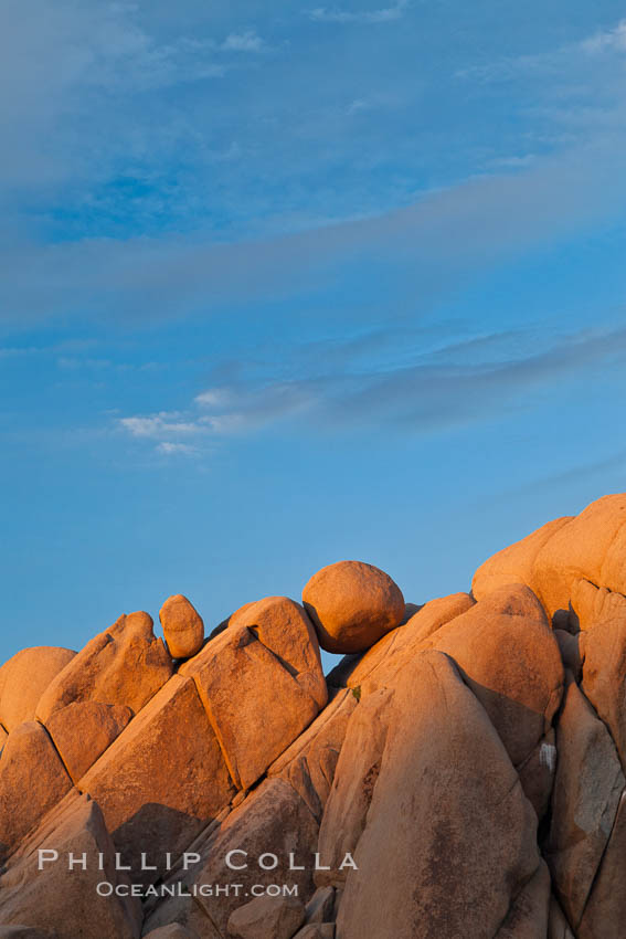 Boulders and sunset in Joshua Tree National Park.  The warm sunlight gently lights unusual boulder formations at Jumbo Rocks in Joshua Tree National Park, California. Joshua Tree National Park, California, USA, natural history stock photograph, photo id 26764