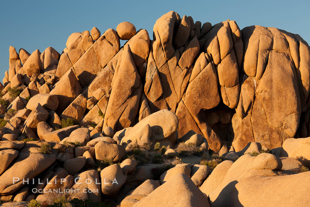 Boulders and sunset in Joshua Tree National Park.  The warm sunlight gently lights unusual boulder formations at Jumbo Rocks in Joshua Tree National Park, California. Joshua Tree National Park, California, USA, natural history stock photograph, photo id 26771