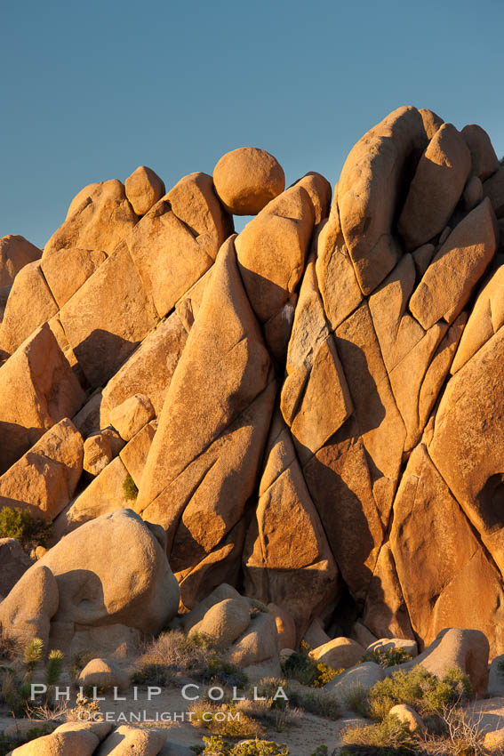 Boulders and sunset in Joshua Tree National Park.  The warm sunlight gently lights unusual boulder formations at Jumbo Rocks in Joshua Tree National Park, California. Joshua Tree National Park, California, USA, natural history stock photograph, photo id 26781