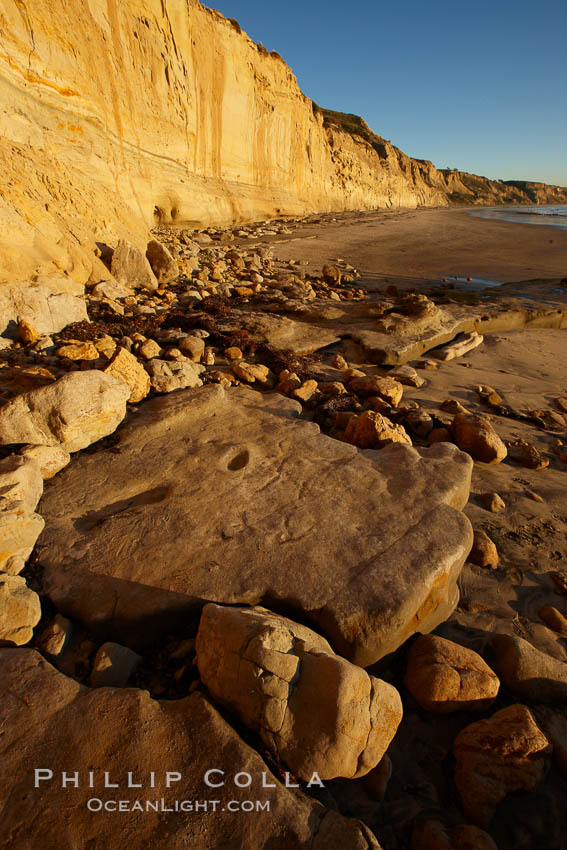 Boulders and sandstone cliffs, Torrey Pines State Beach. Torrey Pines State Reserve, San Diego, California, USA, natural history stock photograph, photo id 22438