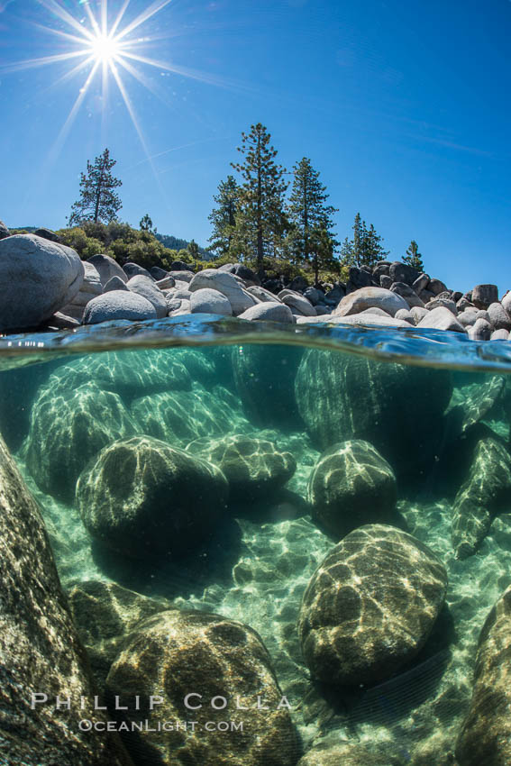 Boulders underwater, Lake Tahoe, Nevada. USA, natural history stock photograph, photo id 32354