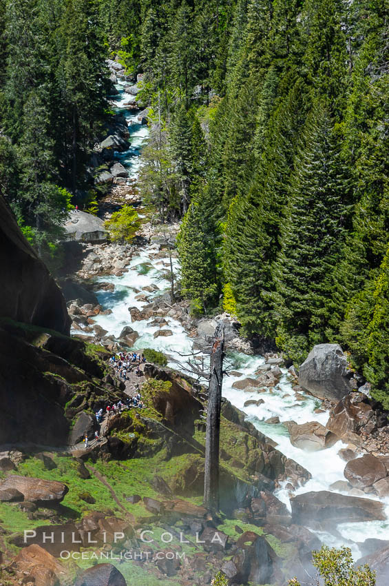 The Merced River viewed from atop Vernal Falls. Yosemite National Park, Spring. California, USA, natural history stock photograph, photo id 09203