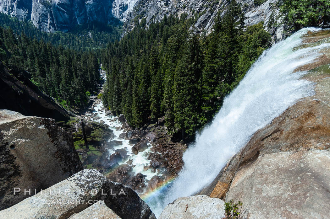 Vernal Falls cascades down through Little Yosemite Valley.  The Merced River is seen far below.  Yosemite National Park, Spring. California, USA, natural history stock photograph, photo id 09197
