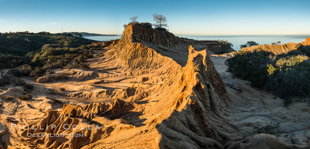 Broken Hill and view to La Jolla, panoramic photograph, from Torrey Pines State Reserve, sunrise. Torrey Pines State Reserve, San Diego, California, USA, natural history stock photograph, photo id 30469