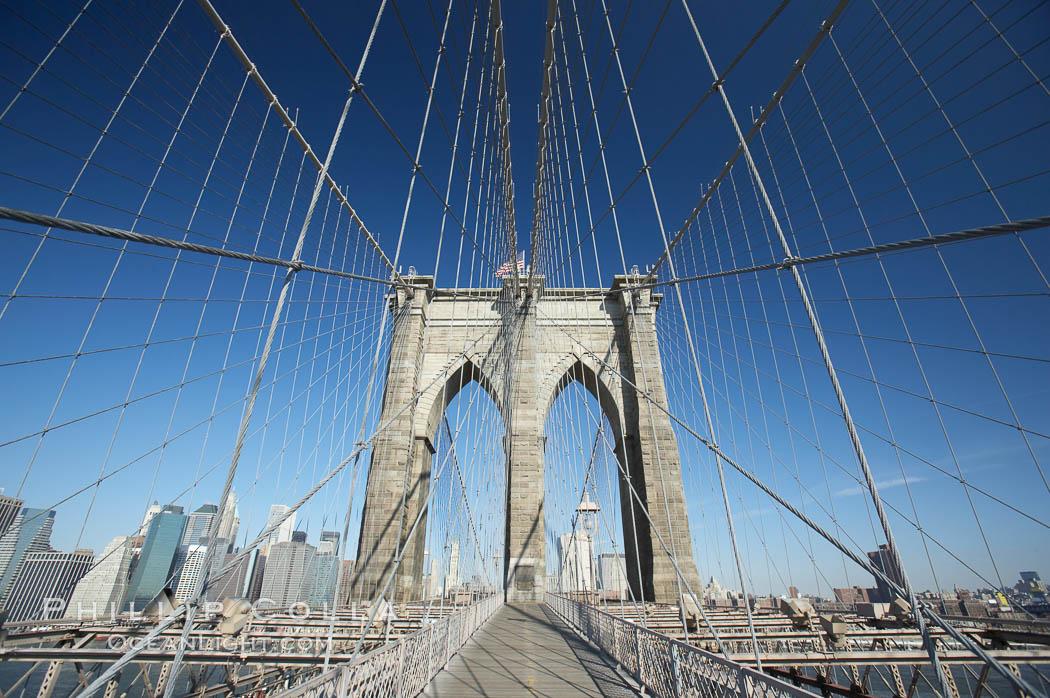 Brooklyn Bridge cables and tower. Brooklyn Bridge, New York City, New York, USA, natural history stock photograph, photo id 11070